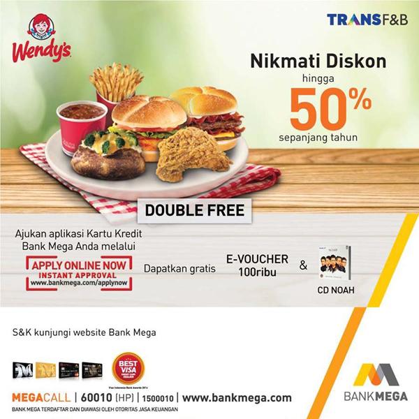 Promo Bank Mega Di Wendys Resto Diskon 50 Wisata Kuliner Rumah Makan Tempat Makan Restoran